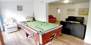 Shared social area with pool table
